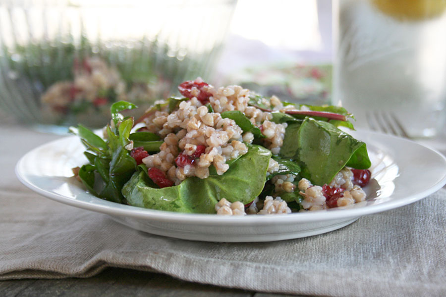 Roasted Buckwheat Salad with Dark Leafy Greens and Cranberries