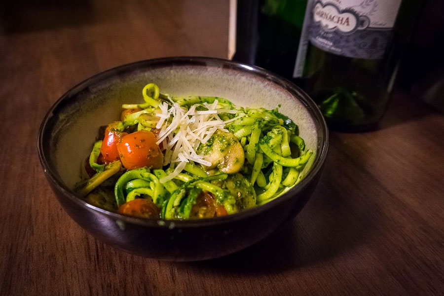 Zucchini Pasta with Kale Pesto